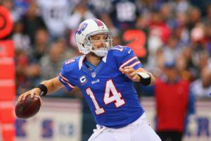 Ryan Fitzpatrick playing quarterback for the Buffalo Bills