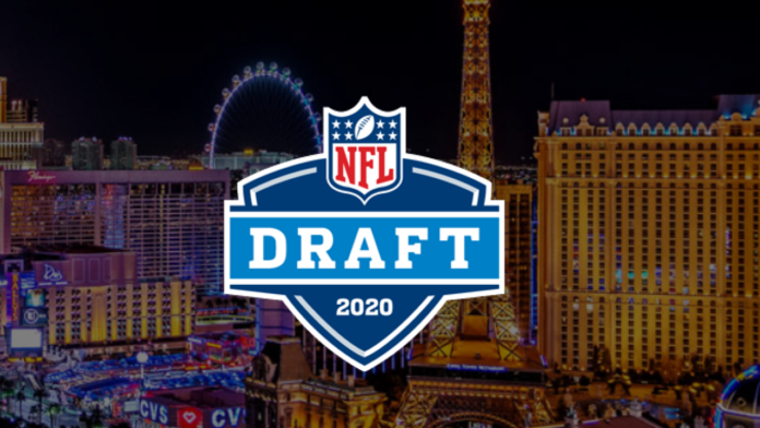 The logo for the 2020 NFL Draft with Las Vegas in the background