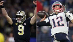 Tom Brady of the New England Patriots throwing the ball next to Drew Brees of the New Orleans Saints celebrating a touchdown pass