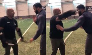 Aaron Donald training with knives