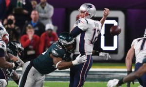 Tom Brady getting stripped of the football in Superbowl LII by the Eagles