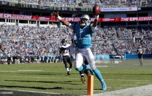 Cam Newton of the Carolina Panthers celebrating a touchdown