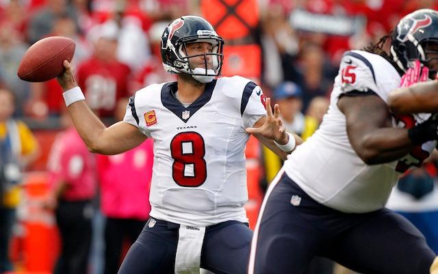 Matt Schaub of the Houston Texans throwing the football