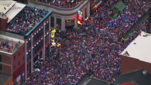 Crowds of people gathered on Broadway in downtown Nashville, TN for the 2019 NFL Draft