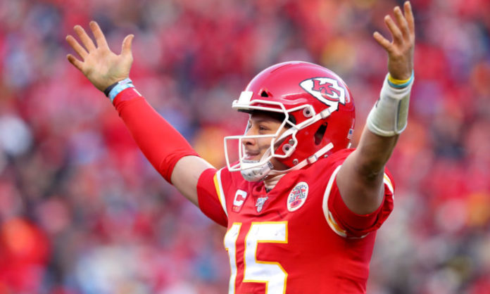 Patrick Mahomes of the Kansas City Chiefs celebrating after throwing a touchdown