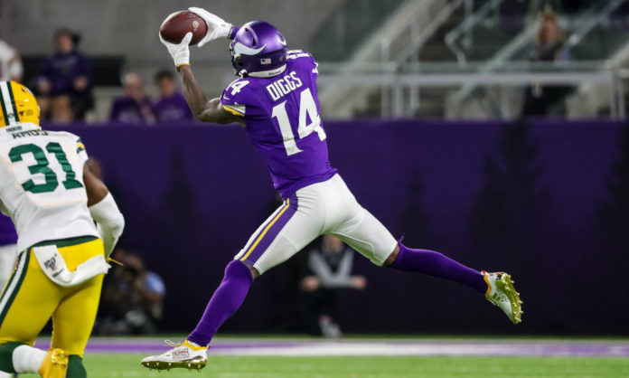 New Buffalo Bills wide receiver Stefon Diggs, who was traded from the Minnesota Vikings, catching a ball against the Green Bay Packers