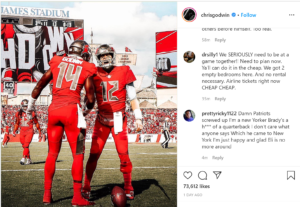 Chris Godwin instagram story showing he gave Tom Brady his jersey number