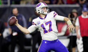 Josh Allen throwing a deep ball during the 2020 NFL Playoffs