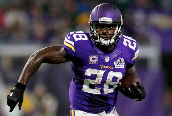 Adrian Peterson of the Minnesota Vikings who has the record for most rushing yards in an NFL game