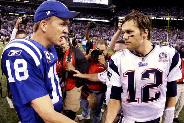 Peyton Manning and Tom Brady shake hands after the 2006 AFC Championship during the Brady vs Manning saga