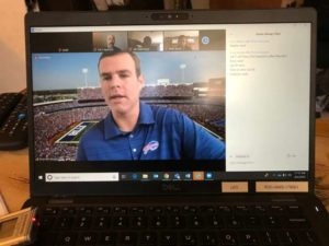 Brandon Beane, general manager for the Buffalo Bills, participating in a video call