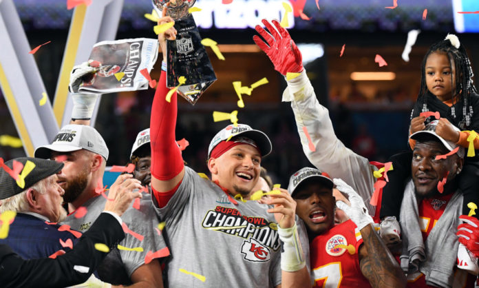 Patrick Mahomes and the Kansas City Chiefs celebrating their victory in Superbowl 54 in Miami Gardens, Florida