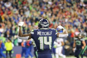 DK Metcalf, wide receiver for the Seattle Seahawks, celebrates a catch