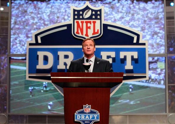 NFL commissioner Roger Goodell speaking at the NFL Draft