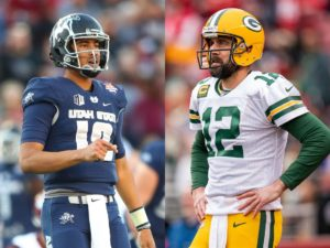 Jordan Love side by side with Aaron Rodgers, both quarterbacks for the Green Bay Packers
