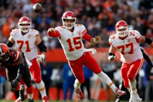 Patrick Mahomes throwing on the run for the Kansas City Chiefs