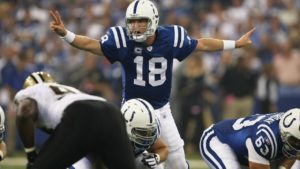 Peyton Manning of the Indianapolis Colts calling an audible at the line of scrimmage