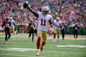 Marquise Goodwin playing for the San Francisco 49ers