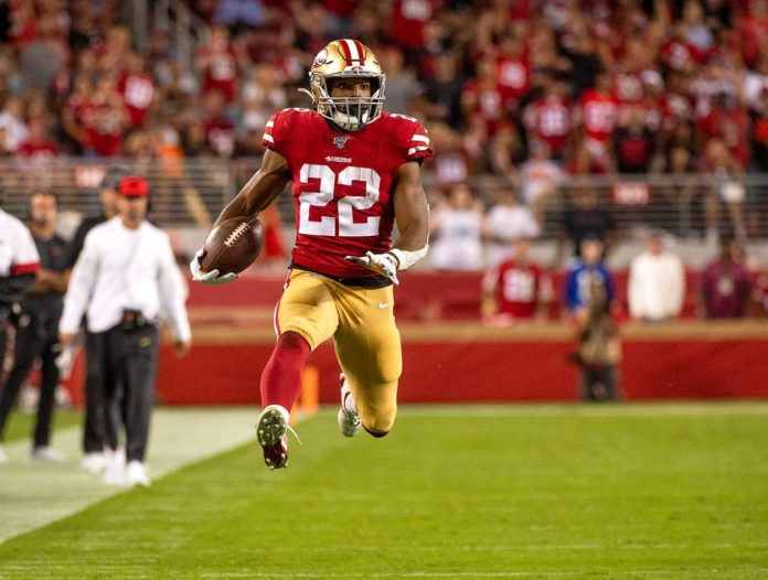 Matt Breida running back for the San Francisco 49ers is the fastest player in the NFL
