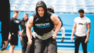 Christian McCaffery, running back for the Carolina Panthers, working out in a hoodie