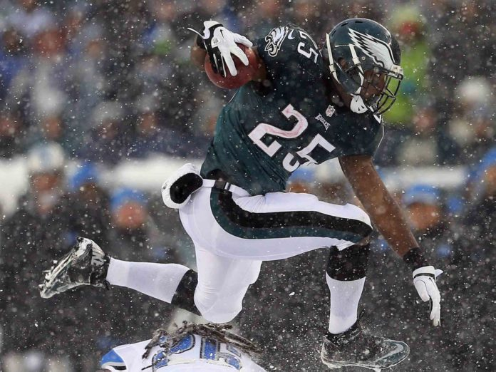 LeSean McCoy, while playing for the Philadelphia Eagles, jumping over a defender
