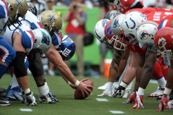 View of offense vs defense line of scrimmage during the NFL Pro Bowl.