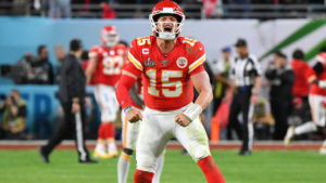 Patrick Mahomes celebrating a touchdown for the Kansas City Chiefs, who are the top contender to win the Superbowl in 2020.