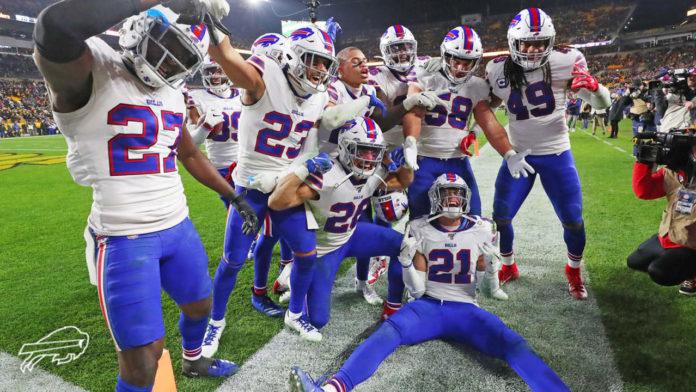 Buffalo Bills defense celebrating after an interception