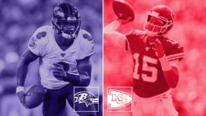 Lamar Jackson of the Baltimore Ravens and Patrick Mahomes of the Kansas City Chiefs face off in a highly anticipated game of the 2020 NFL primetime slots.
