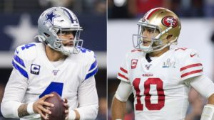 Dak Prescott of the Dallas Cowboys and Jimmy Garoppolo of the San Francisco 49ers are set to face off in one of the primetime games during the 2020 NFL season