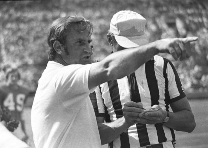 Don Shula talking to a referee while coaching for the Miami Dolphins