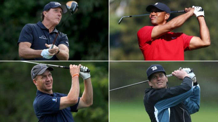 Tiger Woods, Tom Brady, Phil Mickelson, and Peyton Manning are playing together in a charity golf event