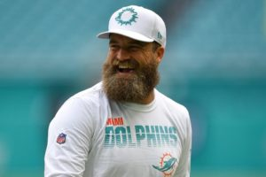 Ryan Fitzpatrick of the Miami Dolphins smiling at practice