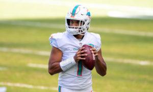 Tua Tagovailoa throwing the football for the Miami Dolphins